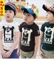 2013 Popular Short Sleeves Bear Door Things T-shirts Boys and Girls T-shirt Japanese and Korean Children Clothing Free Shipping