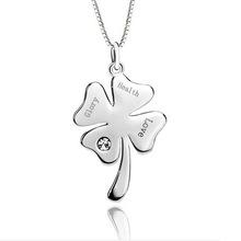 88a164 lettering four leaf clover pendant