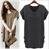 2013 European and American star spot vogue fashion autumn winters  large size ladies women slender wool knitting dress
