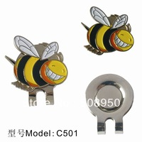 New arrival golf ball marker and hat clip with cute bee design,free shipping,20pcs/lot
