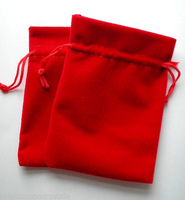Free Shipping 100pcs/Lot 10x12cm Red Color Jewelry Velvet Gift Packaging Bags & Pouches