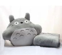Cartoon totoro hand warmer pillow air conditioning blanket with pillow quilt dual-use cushion