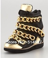 Hot Sale 2013 Women Brand Casual Wedge Shoes Fashion Black Golden Metal Chain Women Sneakers Height Increasing