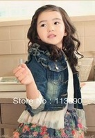 Wholesale free shipping in the autumn of 2013 girls long-sleeved white gauze cowboy coat