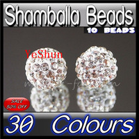 Diy accessories rhinestone full rhinestone bead beads shamballa clay diamond ball 8mm chromophous