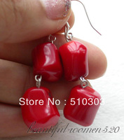 13mm nature massive red coral dangle earrings 925silver