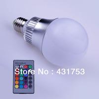 Hot  newE27 RGB LED Bulb Lamp 15W RGB Light Spotlight 16 Colors Magic Changing AC/85V-265V CE / RoHS with Remote (Free Shipping)