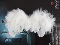 Handmade feather wings of small black and white wings cosplay props white