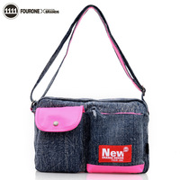 Hot sale Fourone women's fashion handbag 2013 cross-body small bags female denim bag casual bag 9154  Free shipping!