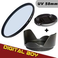 (3pcs/1lot)1pcs Digital Boy 58mm UV Lens Filter+58mm Lens Hood +58mm Lens CAP Filter kit for Canon 18-55 Nikon 50/1.4G
