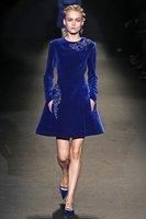 European Fashion Autumn Winter Top Grade Runway Velveteen Embroidery Blue Dress Women