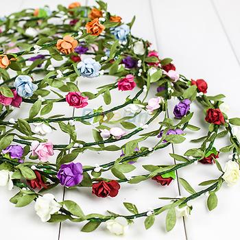 Bride Headband Flower Lady Girl Floral Festival Wedding Garland Forehead  Bridemaid Head Band Headwear Hairband 1J73