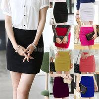 Free Shipping 2014 Summer Korean Ladies Women's Skirt High Waist A Line Slim Mini Work Office Skirts 8 Solid Colors XS - XL
