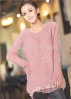 sweaters 2014 women fashion  Fall  Winter Fashion Mohair Lace Pullover  Long  women fluffy  Sweater women sweaters woman