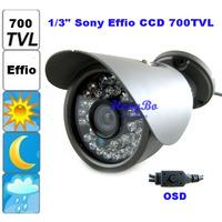 "1/3"" Sony Effio CCD 700TVL OSD menu 30leds IR  outdoor waterproof cctv camera with Bracket H20201. Free Shipping"