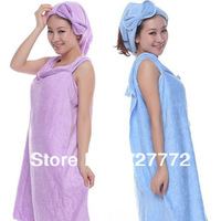 Free shipping microfiber creative magic bath towel super soft adults/children ultrafine fiber shower towel with Hair-drying Cap