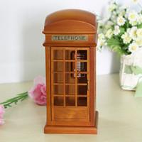 Yunsheng mechanism log street brown telephone booth music box wooden music box 05