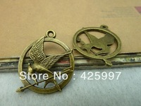 Min. order is $8(mix order)Vintage Hunger Games Pendant,Antique Bronze Bird Charm,Antique Connector Findings,Free Shipping