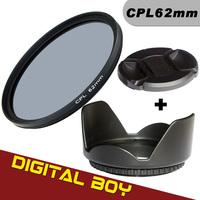 Filter Kit Digital Boy 62mm Circular Polarizing Filter+62mm Lens Hood +Lens cap for Canon Nikon Sony Pentex