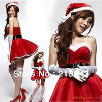 5Pcs/Set Sexy Women Christmas Costumes Hat, Dress, Belt, and Gloves Dress Party Temptation Christmas Costume Set Free Shipping