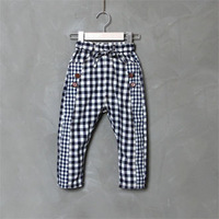 2013 male child pants female children's pants goldfish spring plaid casual pants pencil pants