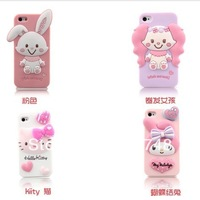 Free Shipping Pink Series 3D Hello Kitty Melody Cute Rabbit Cartoon Girl Silicone soft case shockproof cover for iphone 4 4g 4s