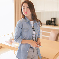 Denim basic shirt female long-sleeve slim button loose pearl 2013 autumn and winter new arrival outerwear cardigan