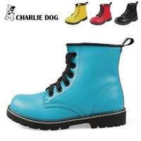 Shoes 2012 full genuine leather plus cotton handmade child martin boots boots children male female child