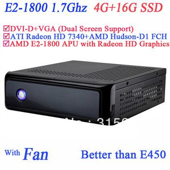 wholesale cheap slim home pc server AMD E2-1800 APU CPU include SECC 4G RAM 16G SSD ATI Radeon HD 7340 graphic Windows or Linux