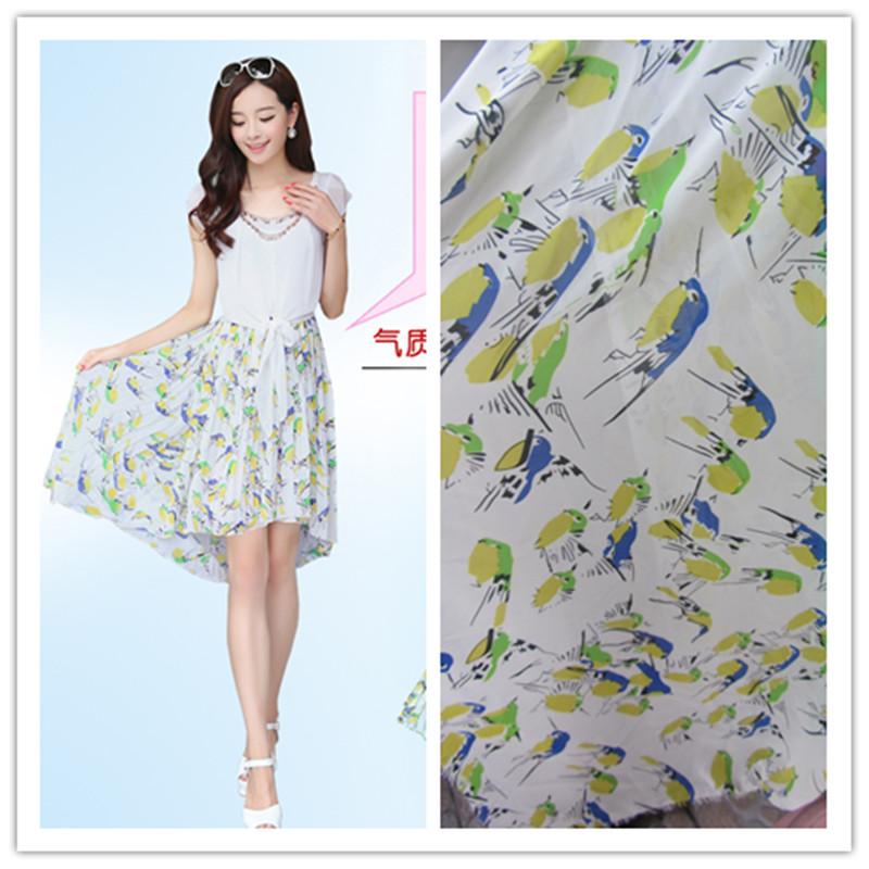 Composto de seda de chiffon azul amarelo verde sparrow pattern chiffon saia camisa de tecido(China (Mainland))