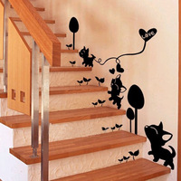 Room decoration wall stickers romantic home accessories kitten stair entranceway wall stickers