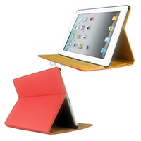 Red ENK-3109 Protective PU Leather Case with Sleep / Wake-up Function/Holder for iPad 4 / iPad 3 / iPad 2