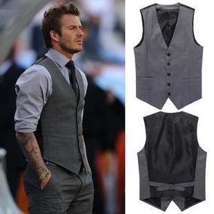 [해외] Korean Slim Fit Beckham Style Suit Vest For Man C..