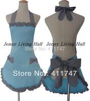 Promotional Elegant Blue Cotton Apron with Lattice Ruffle