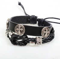 Religious Cross Leather Bracelet Handmade Braided Leather Bracelet Vintage Jewelry 2pcs/lot LB043 Free Shipping