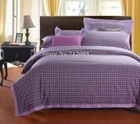 Free Shipping,4pcs full/queen/king bi-color lattice modern pattern purple 100% cotton comforter/quilt/duvet covers bedding sets