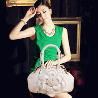 Women's handbag  rose flower with a diamond big bag fashion  shoulder bag   messenger bag evening bag high-quality pu bag