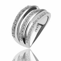 18KGP R068 18K Platinum PlatedRing Jewelry Nickel Free KGolden PlatingPlatinum Austrian Crystal SWA Element Alternate with Lines