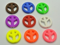 Free shipping HOT ! 20mm cute candy color DIY Acrylic Rubber Neon matte peace logo round spacer loose beads 300pcs/lot