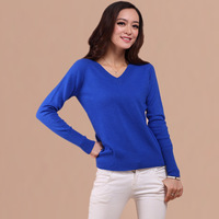 womens sweater 2013 spring double front and rear V-neck women's sweater cashmere sweater basic shirt sweater