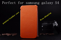 1pcs colorful  original quality Genuine Leather Case  Leather battery cover For samsung galyax s4 i9500+free shipping