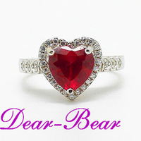 Luxury S925 Sterling Silver Red Corumdum Sapphire Ring CZ Bridal Ring Heart Wedding Ring Jewellery