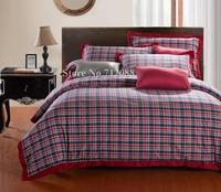 Free Shipping,100% cotton quilt/duvet comforter cover 4pcs full/queen/king bedding sets bordeaux red blue bi-color lattice