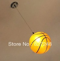 Novelty items lamp design power 110v 220v E27 e27*1 lamp holder iron glass basketball pendant lights for kids room home lighting