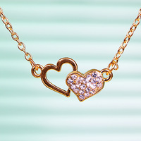 Free shipping more than $15+gift love hollow heart linked double heart necklace fashion brief fashion jewelry rhinestone gift
