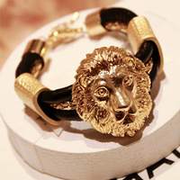 Free shipping more than $15+gift fashion vintage leather alloy lion head leather alloy chain bracelet gold plated gift