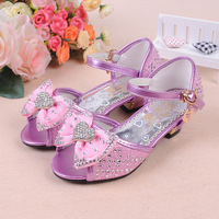 Female child sandals 2013 princess shoes open toe sandals child high-heeled shoes rhinestone bow children shoes female