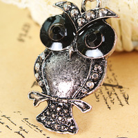 Free shipping more than $15+gift jewelry fashion female acrylic crystal owl necklace long chain gift gunblack transpant