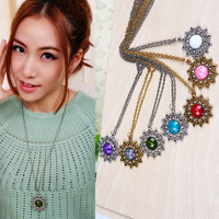 Free shipping more than $15+gift popular jewelry aesthetic classic big flower gem star crystal gift chain long necklace