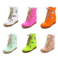 free shipping 2013 genuine leather lady fashion marc by high top cutout sneakers wedge shoes no tax
